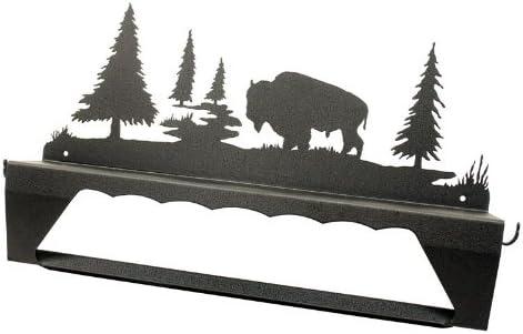 Innovative Fabricators, Inc. Buffalo Bison in Wilderness Towel Bar with Shelf