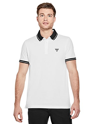 GUESS Factory Men's Colby Rib-Knit Polo Pure ()