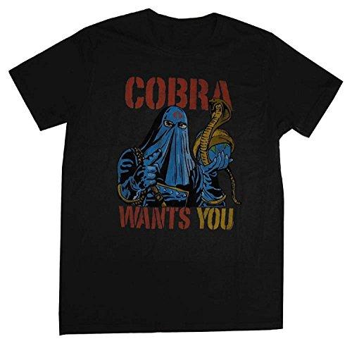 Bonsoo Men's Black Cobra Commander Wants You Junk Food Cartoon T-Shirt Tee