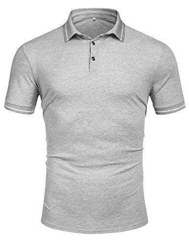 Men's Short Sleeve Polo Shirt Classic Dry Fit Sport Golf Polo Shirts Casual T Shirt Gray ()