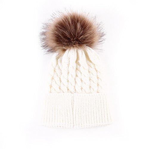 Emmababy Baby Boys Girls Winter Knit Beanie Raccoon Fur Pom Bobble Hat Crochet Ski Cap (White)