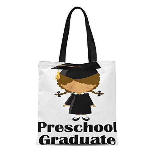 Semtomn Cotton Line Canvas Tote Bag Kids Preschool Graduate Idea Tote Graduation Pre Grad Reusable Handbag Shoulder Grocery Shopping -