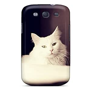 Galaxy S3 Case Cover - Slim Fit Tpu Protector Shock Absorbent Case (furry White Cat)