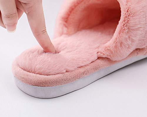 Confortable Intérieur dérapant à Chaud Glisser Maison résistant ZiXing Chaussons Mémoire Mousse d'hiver Laine en Pink Anti l'usure TqwdvX