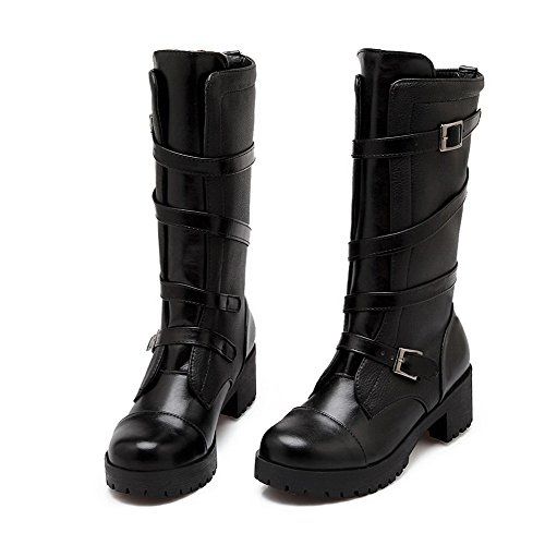 AmoonyFashion Solid Buckle Round Heels Black Boots Kitten Women's Closed Toe r7Pwr