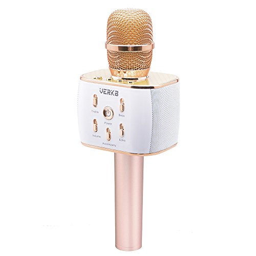 VERKB Wireless Karaoke Microphone Q5 Portable Bluetooth Speaker Home KTV Party Machine iOS & Android for Singing & Recording (Rose Golden)