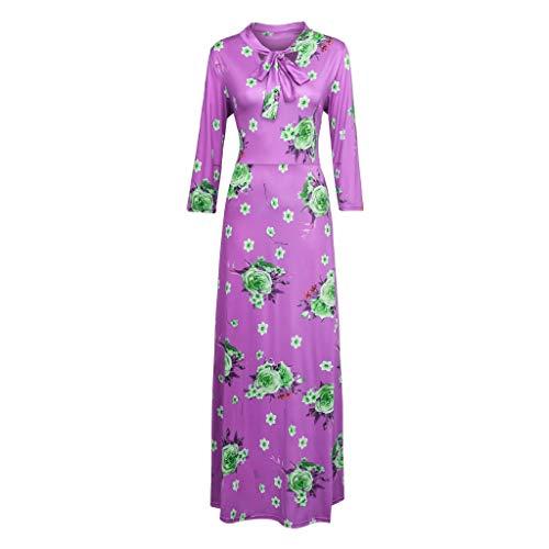 (HYIRI Women's Boho Tie Front Button Down Spaghetti Straps Floral Backless Swing Midi Dress Purple)