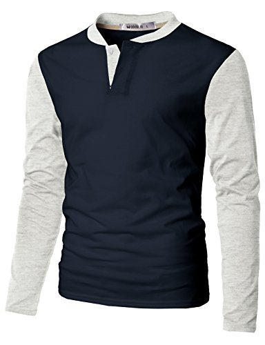 DANDYCLO Men's Henley Shirt Layered Style Long Sleeve Casual T Shirt NAVYIVORY S