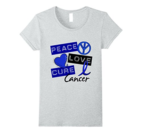 - Womens Anal Cancer T-Shirt Peace Love Cure Small Heather Grey