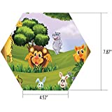 iPrint Hexagon Wall Sticker,Mural Decal,Zoo,Animals in The Forest Cartoon Illustration African Safari Jungle Ecosystem Greenery,Multicolor,for Home Decor 4.52x7.87 10 Pcs/Set