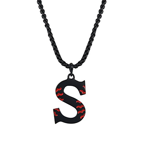 Bowisheet Baseball Initial Pendant Necklace Inspiration Black 26 Letter A-Z Alphabet Stainless Steel Necklace for (Mens Letter)