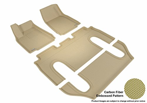 3D MAXpider Complete Set Custom Fit All-Weather Floor Mat for Select Tesla Model X Models - Kagu Rubber (Tan)