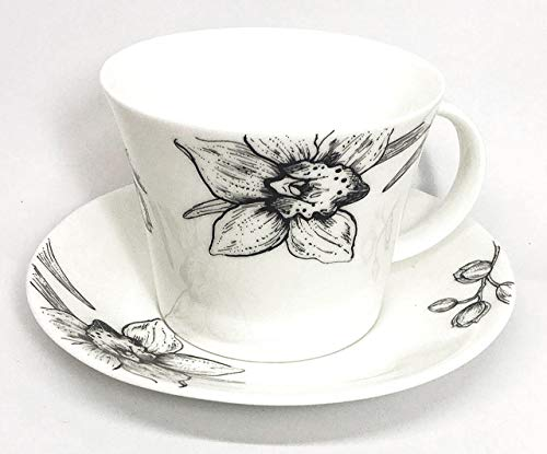 Roy Kirkham Floral Art IRIS by Ian Kirkham Breakfast Tea Cup and Saucer Set Fine Bone China | Collectible Dated ()