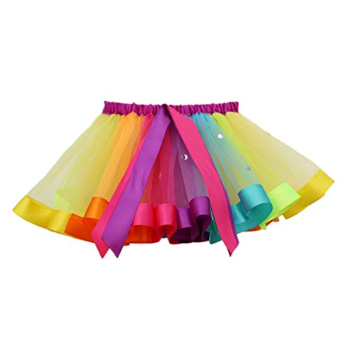 MOLFROA Baby Girls Colorful Layered Dance Outdoor Rainbow Tutu Skirt (Small/1-3 Years, Rhinestone Rainbow) by MOLFROA (Image #2)