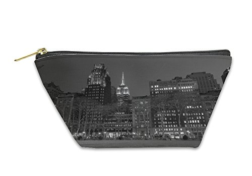 Gear New Accessory Zipper Pouch, Empire State Bulding From Bryant Park In Black And White, Large, - Bryant Park 42nd