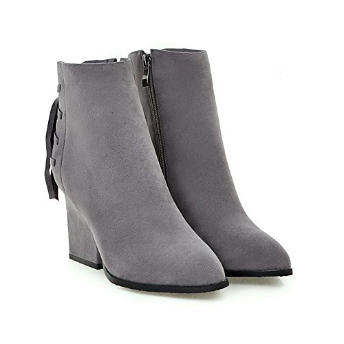 Women's High Frosted Toe WeenFashion Zipper Gray Heels Closed Boots Pointed Solid pqfUwPd