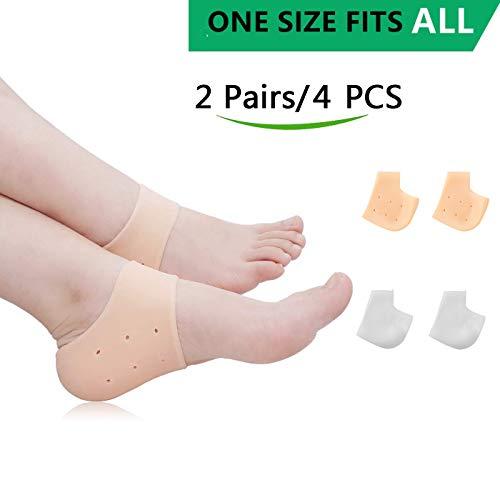 Silicone Heel Cushion,Heel Cups,Gel Heel Protectors,Plantar Fasciitis Inserts Pads& Heel Guards Great fot Heel Pain, Heal Dry Cracked Heels, Achilles Tendinitis.Heel - Heel Sleeve Gel