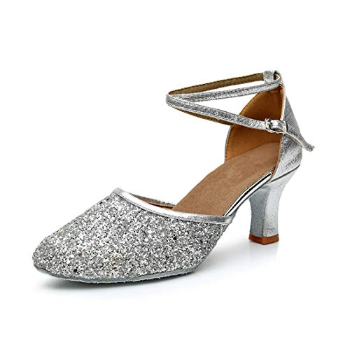 GetMine Womens Latin Dance Shoes Heeled Ballroom Salsa Tango Party Sequin Dance Shoes, Silver-suede Sole, 9 M US