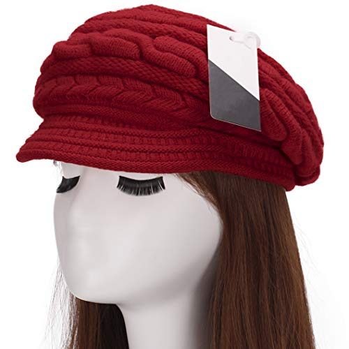 Crochet Knit Slouchy Beanie Cap Outdoor Warm Snow Ski Knitted Hats with Visor for Women Red ()