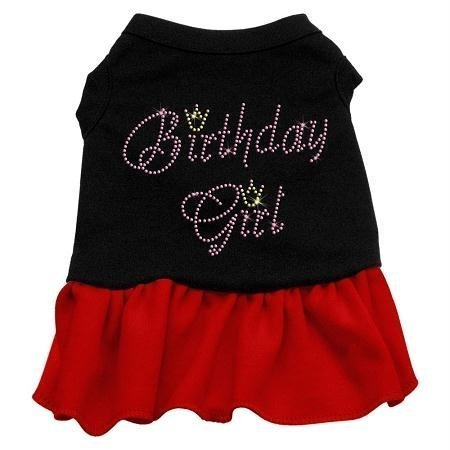 Mirage Pet Products Birthday Girl Rhinestone 8-Inch Pet Dresses, X-Small, Black with Red by Mirage Pet Products