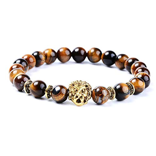 Men's Natural Black Stone Bead Gold Lion Buddha Beaded Charm Bracelet 8mm
