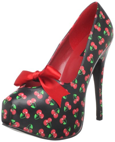 femme Cherries Pu Up talon Print Pin à Couture chaussures Blk qxBOw0aX8a