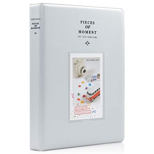 Ablus 128 Pockets Mini Photo Album for Fujifilm Instax Mini 7s 8 8+ 9 25 26 50s 70 90 Instant Camera & Name Card (Smokey White) ()