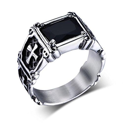 HIJONES Men's Jewelry Stainless Steel Cross Style Black Diamond Ring Size 9