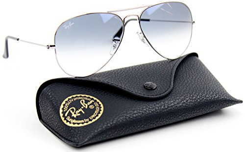 Ray-Ban RB3025 Aviator Gradient Unisex Sunglasses (Silver Metal Frame / Light Blue Gradient Lens 003/3F, - Blue Glass Aviator Ban Ray