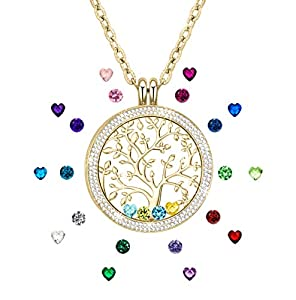 Family Tree of Life Jewelry Floating Charm Memory Lockets Pendant Created Birthstone Necklace for Mothers Gifts Birthday Gifts for Mom Grandma Golden Tone
