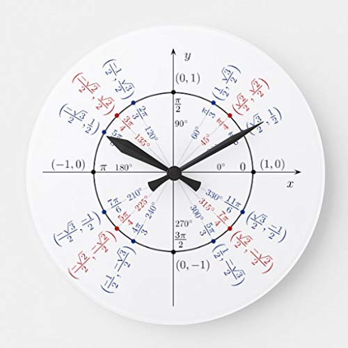 Moonluna Unit Circle Math Geek Funny Nerd Student Wall Clocks Battery Operated Wooden Clock Decorations for Kitchen 10 inches (Unit Circle Clock)