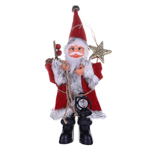 EFINNY Christmas Figure Standing Plush Santa Claus with Kerosene Lamp Home Decor Ornaments Holiday Decorations
