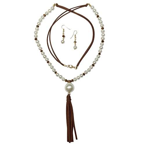 Imitation Brown Pearl (Gypsy Jewels Long Imitation Pearl & Faux Leather Tassel Beaded Necklace & Earring Set (Brown))