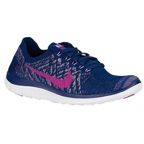 Nike womens Free 4.0 Flyknit Running Shoes Brave Blue/Fuchsia Glow/Game Royal Color (10)