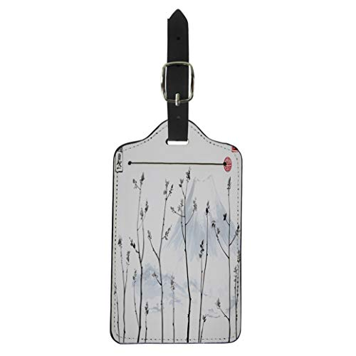 Semtomn Luggage Tag Tree Branches Fresh Leaves and Fujiyama Mountain on Traditional Suitcase Baggage Label Travel Tag Labels