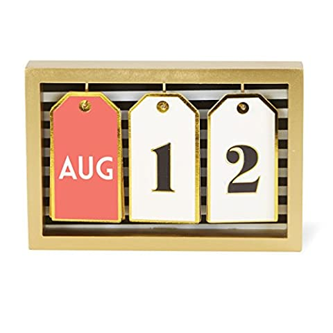 C.R. Gibson Shadowbox Desk Calendar, 13 Tags With Months & Numbers, Measures 6