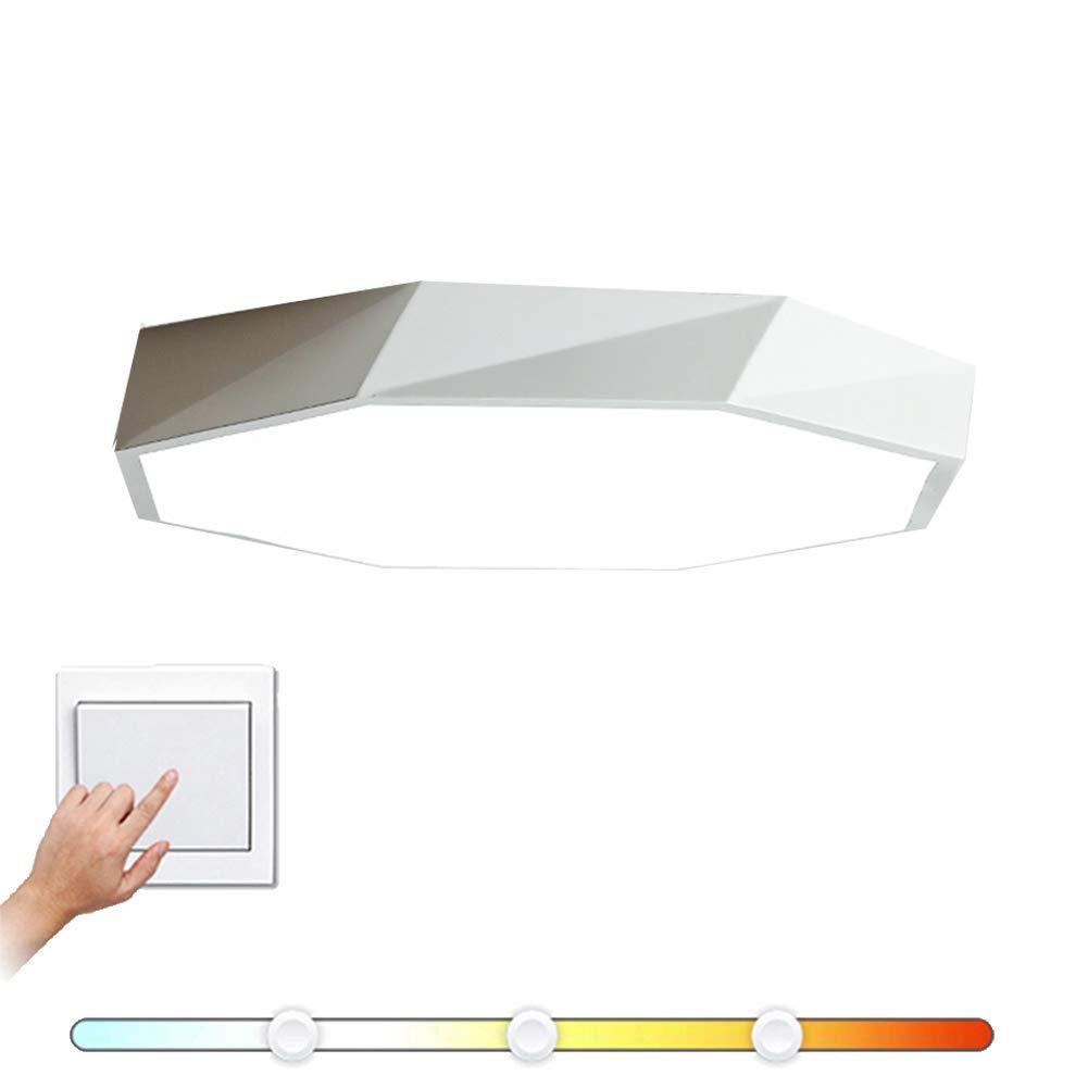 VinDeng Octagon Metal LED Deckenleuchte, 24W 16 zoll Deckenlampe Mit Acryl Geometrie Für Schlafzimmer Esszimmer Küche-Weiß Trichromes Dimmen