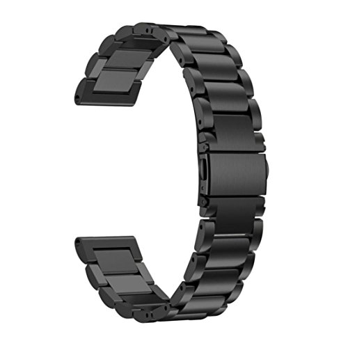 Price comparison product image Alonea Stainless Steel Watch Bracelet Band Strap For Garmin Fenix 5S GPS Watch (Black)