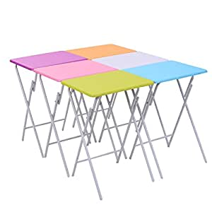 Giantex Set of 6 Folding Side Table Multicolor Game Snack Craft Diner Tray Serving Desk