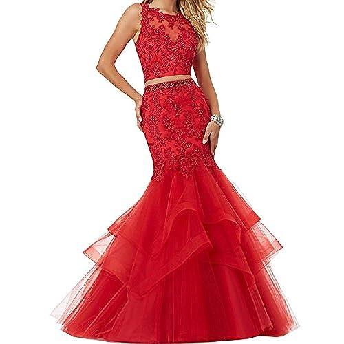 Ellenhouse Womens Mermaid Long Tulle Applique Two Pieces Prom Party Dresses EL125