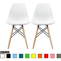2xhome-Set of Two (2) White- Eames Style DSW Mid Century Plastic Molded Eiffel Dining Chair