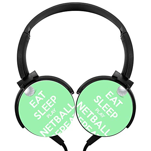Netball System - Wired Stereo Headphone Eat Sleep Play Netball Repeat Noise Cancelling Over Ear Headphones with Microphone Portable Headset Earphone Earpiece