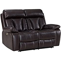 Power Recliner Sofa With USB Charging Port, Adjustable Headrest Deluxe Living Room Electric Lounge Chair- Durable Tufted Air Leather, Comfortable,Easy to Clean - Love Seat, Brown