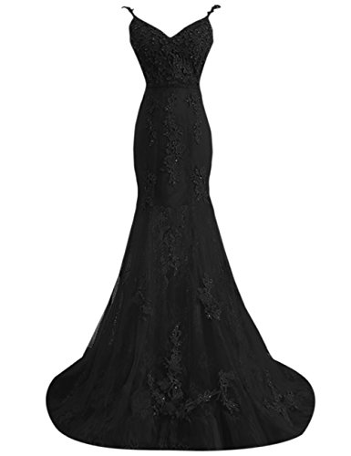 Dresses Prom Backless Black Evening Women's Bess Bridal Tulle Straps with Lace Mermaid xnXYP6Oq8w
