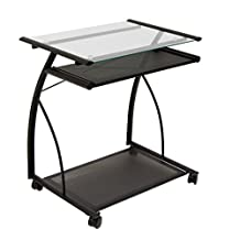 Studio Designs Calico Designs 50100 L-Shaped Computer Cart with Clear Glass, Black