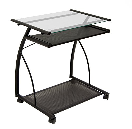 - Calico Designs 50100 L-Shaped Computer Cart with Clear Glass, Black