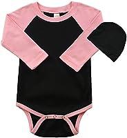 PandoraTees Long Sleeve Raglan Bodysuit and Cap Set