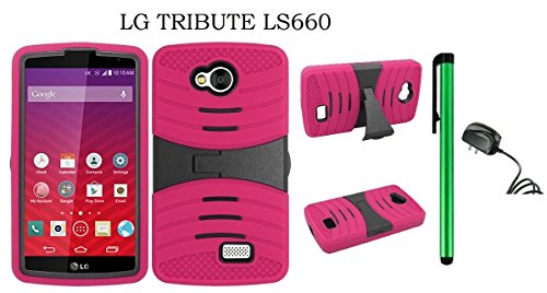 (LG Tribute LS660 Dual Layer Hybrid Case - UCASE Cover With Kickstand and Screen Installed + Travel (Wall) Charger + 1 of New Metal Stylus Touch Screen Pen (PINK))