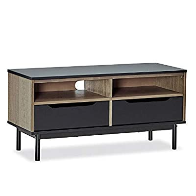 "MUSEHOMEINC Wood TV Stand/Media Console with Shelve and Drawer for Living Room,Mid-Century Modern Style,TV Sides Up To 50 Inch/Multipurpose Entertainment Media Center,Black and Antique Gray Finish - Product dimensions: 44.1"" (L)* 15.7"" (W) *20.9"" (H) Holds flat screen TVs up to 50 Inch The fashionable splayed metal legs enhance the appeal of this TV stand/Media console. This TV stand/Media console features two spacious drawers and two large open shelves for all your entertainment components and media. Integrated cord management channels at the back of the cabinet - tv-stands, living-room-furniture, living-room - 41CJYqBBAxL. SS400  -"