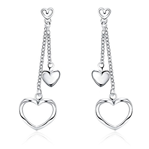 Heart Earrings Sterling Silver Shape (Sterling Silver Open Heart Threader Drop Earrings Hollow Heart Shape Tassel Cubic Zircon Ear Stud Dangle Heart Earrings)